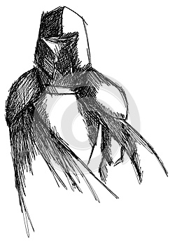 Sketch of a Knight in black