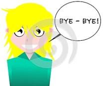 Smiling girl cartoon saying bye-bye