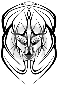 Stylized isolated lion in black