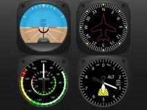 Airplane cockpit flight instruments Stock Photography