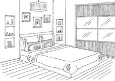 Bedroom Graphic Black White Interior Sketch Ilration Vector Royalty Free Stock Image