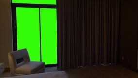 hotel bedroom curtains open to reveal green screen view