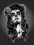 Day of the Dead woman with Sugar Skull Face Paint Stock Images