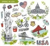 Freiheitsstatue Zeichnung Stock Illustrationen Vektors