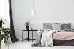 Grey And Pink Bedroom Interior Stock Photo Image Of Dirty Minimal 113056144