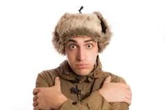 Homme Congel Avec Son Chapeau Esquimau Disolement Sur