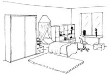 Kids Room Graphical Sketch Children S Of An Interior Liner