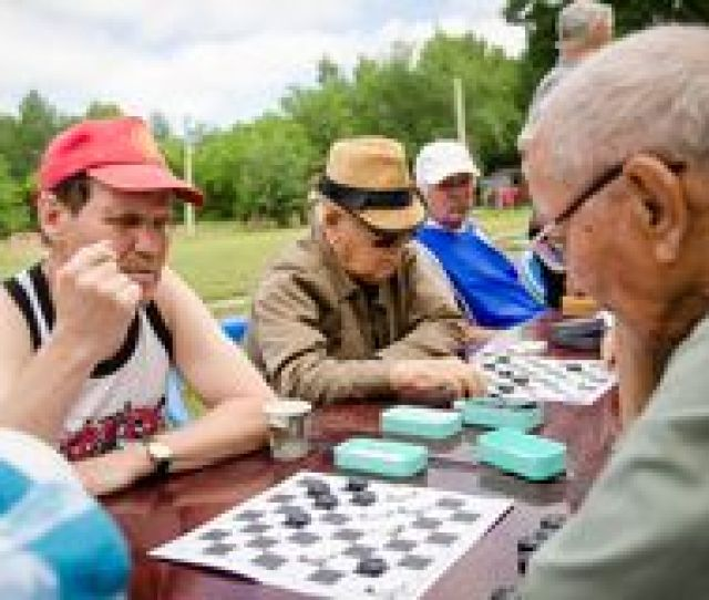 Elderly People Play Checkers In The Park Amateur Competitions Royalty Free Stock Photo