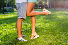 Legs Feet Couple Lovers Tenderness Stock Photo - Image of ...