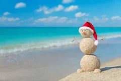 Christmas Sandy Snowman In Santa Hat At Tropical Beach