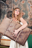 Woman with a suitcase Royalty Free Stock Photos