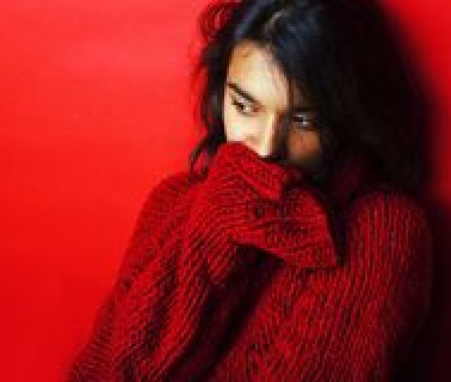 Young Pretty Indian Girl In Red Sweater Posing Emotional Fashio N Hipster Teenage