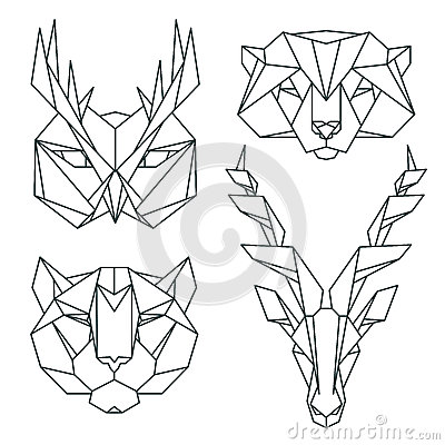 Image of: Abstract Art Stockphotosro African Animal Icons Vector Icon Set Abstract Triangular Style