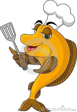 Смешные рыбы кашевара шаржа Стоковое Фото - изображение ...