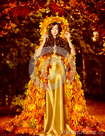 Autumn Fashion Woman Fall Leaves Dress Outdoor Leaf Coat
