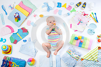 Baby With Clothing And Infant Care Items Stock Photo Image 71328538