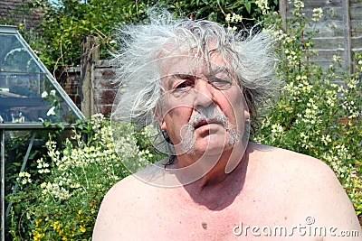 Bad Hair Day A Senior Man Royalty Free Stock Photography