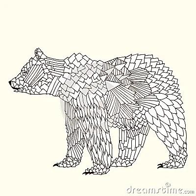Bear Illustration On Simple Yellow Background Stock Vector