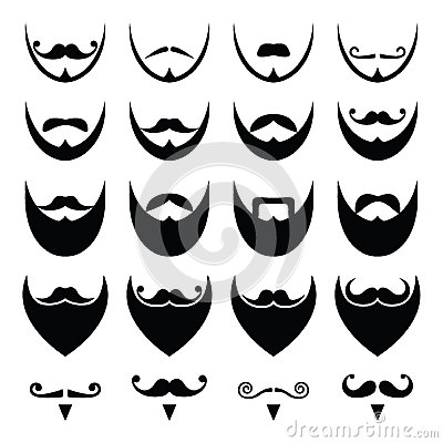 Beard With Moustache Or Mustache Icons Set Stock