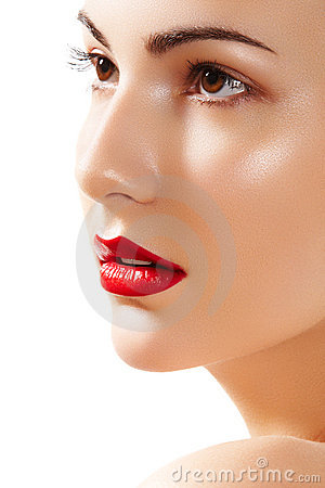 Beautiful Pure Model Face With Bright Lips Make Up Royalty