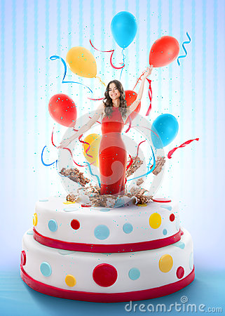 Beautiful Woman Jumping Out Of The Cake Stock Photo