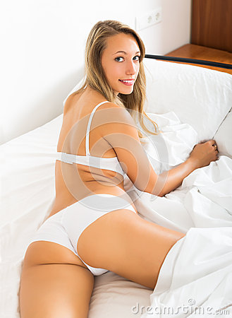 blonde girl in underwear posing stock photo image