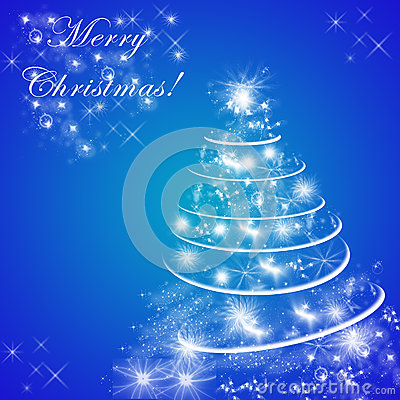 Blue Merry Christmas Greeting Card With Christmas Tree