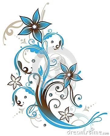 Blumen Zusammenfassung Blau Weinlese Lizenzfreies