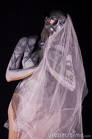 Body art woman with veil
