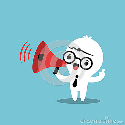 Business Cartoon Character With Megaphone Make An