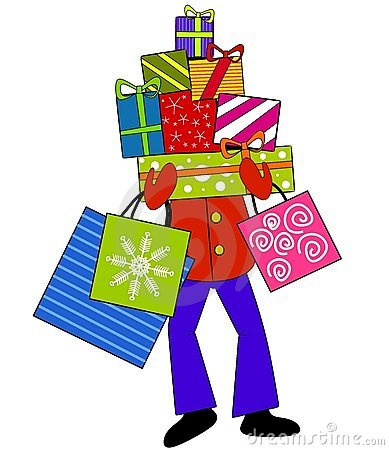 Carrying Christmas Presents Royalty Free Stock Images