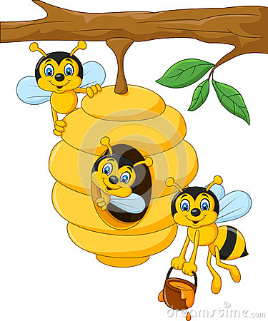 Cartoon Branch Of A Tree With A Beehive And A Bee Stock