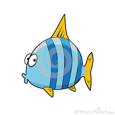 Cartoon Isolated Blue Striped Fish Stock Vector Image