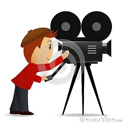 Cartoon Man With Movie Camera Stock Photography Image