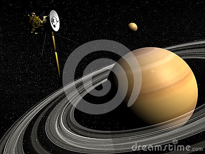 Cassini Spacecraft Near Saturn And Titan Satellite - 3D ...