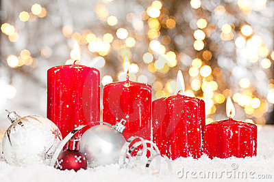 Christmas Background With Red Candles And Snow Stock Image