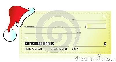 Christmas Bonus Check Illustration Royalty Free Stock