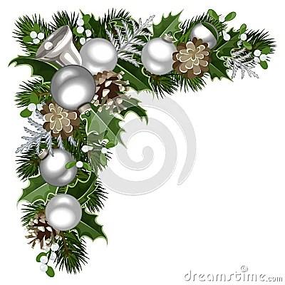 Christmas Decorative Corner Vector Illustration Stock
