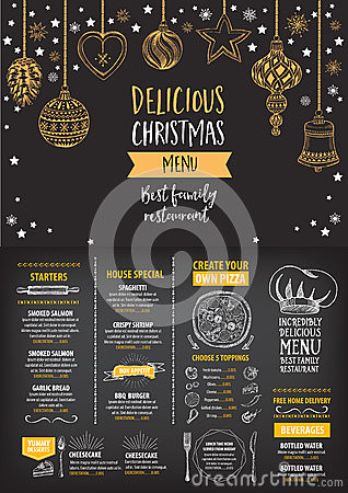 Christmas Party Invitation Restaurant Food Flyer Stock Vector Image 62205893