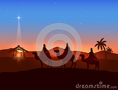 Christmas Theme With Three Wise Men And Shining Star Stock