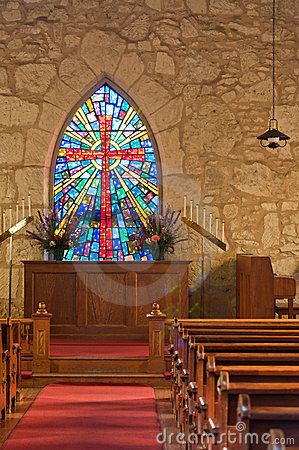 Church Interior With Stained Glass Window Royalty Free