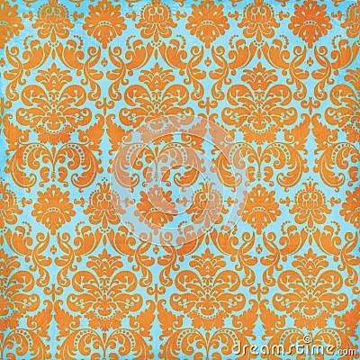 Crazy Summer Orange And Teal Damask Background Stock