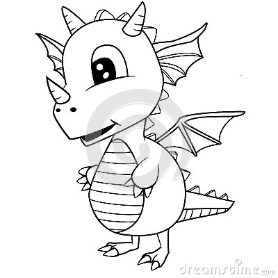 Cute Black And White Cartoon Baby Dragon Cartoondealer Com 82288871