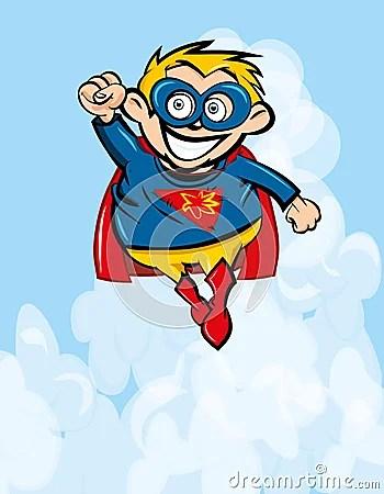 Cute Cartoon Superboy Flying Up Royalty Free Stock Image