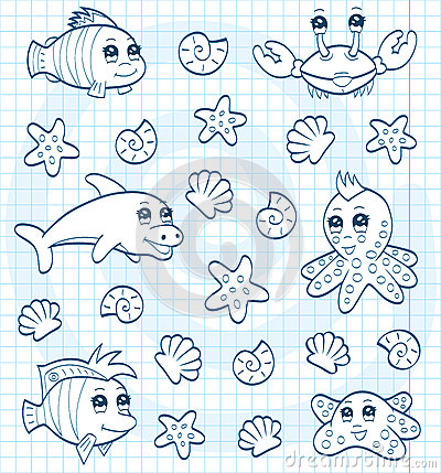 Cute Sea Animals Coloring Book Stock Photos Image