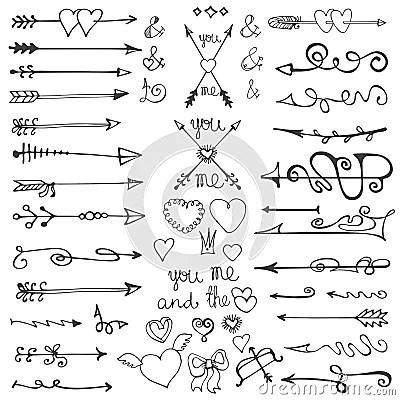 Doodle Hand Drawn ArrowsheartselementsValentine Stock