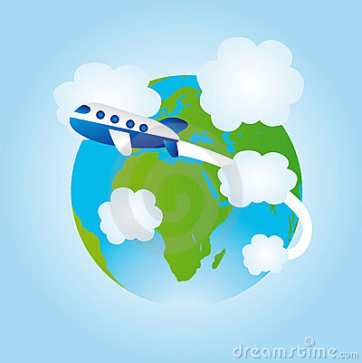 Earth And Airplane Cartoon Royalty Free Stock Images