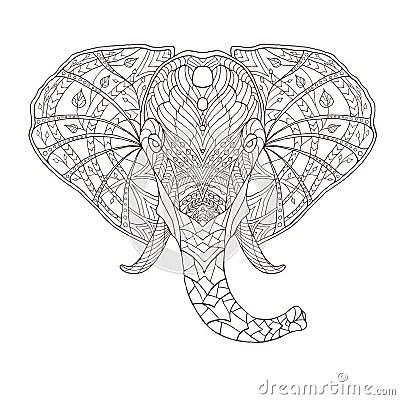 Elephant Ethnic Patterned Vector Illustration Stock