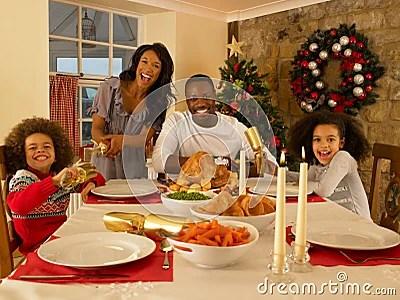 Family Having Christmas Dinner Stock Photo Image 20467670