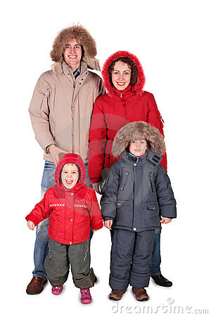 Family In Winter Clothing Stock Photography Image 4965352